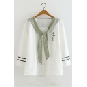 Plaid Tied Navy Collar Japanese Letter Printed Stripe Loose Long Sleeve T-Shirt