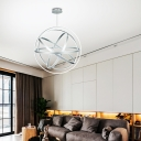 Gyro Pendant Lighting Modern Metal Integrated Led Chandelier Lighting in Chrome