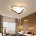 Metal Triangle Flush Ceiling Light Modern White Flush Mount Light for Bedroom