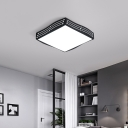Black Square/Rectangle Ceiling Light Minimalist Metal Led Indoor Flush Mount Light with Diffuser