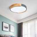 Round Flush Light Nordic Style Iron and Acrylic Ceiling Light Fixtures with Wooden Rim in Grey/Green/White