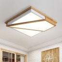 Unique Squared Flush Mount Ceiling Lights Modern Wood and Acrylic Ceiling Fixture with White/Warm/Natural Lighting