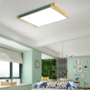 Warm/White Square Flush Mount Light Fixture Nordic Style Iron and Wood Ceiling Lights in White/Yellow/Green for Kitchen