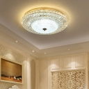 Clear Crystal Flushmount Ceiling Light Integrated Led Contemporary Flush Light with Glass Diffuser