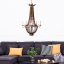 5 Lights Candle Empire Chandelier Lighting Loft Style Wood Bead Pendant Light for Bedroom