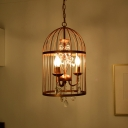 Rust Birdcage Chandelier Lighting Vintage Metal and Crystal 3 Lights Hanging Ceiling Light for Foyer