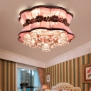 Pink Flower Flush Ceiling Light Modern Elegant Fabric LED Ceiling Mount Light with Crystal Decor for Coffee Shop