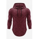 Men's Hot Fashion Simple Plain Long Sleeve Casual Relaxed Pullover Drawstring Hoodie