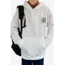 Mens Popular Fashion Graphic Printed Long Sleeve Casual Loose Fit Sports Hoodie with Pocket