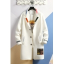 Mens New Stylish Letter Printed Lapel Collar Long Sleeve Button Down Longline Hoodie Coat