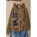 Hot Fashion Fish Printed Button Embellished Front Long Sleeve Winter Warm Fluffy Fleece Hoodie