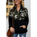 New Stylish Half-Zip Stand Up Collar Camouflage Pattern Patchwork Color Block Pocket Long Sleeves Fluffy Teddy Sweatshirt