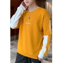 Fashion Letter EIGLILIONS Printed Colorblock Long Sleeve Fake Two-Piece Oversized Unisex Pullover Hoodie