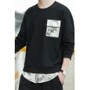 Mens Trendy Camouflage Patched Fake Two-Piece Letter Printed Long Sleeve Round Neck Casual Pullover Sweatshirt
