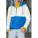 Mens Popular Colorblock Pacted Drawstring Hood Long Sleeve Casual Sports Zip Up Hoodie with Pocket