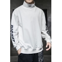 Mens Simple Fashion Letter DISOUT Printed High Collar Long Sleeve Pullover Hoodie