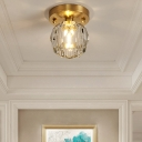 Round Design Crystal Ceiling Lamp Modern Metal Ceiling Light for Living Room Bedroom Corridor