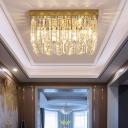 Rectangular Flush Mount Light Fixture Contemporary Crystal Bedroom Lighting Fixture