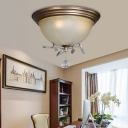 Glass Bowl Flush Mount Light Fixture Contemporary Iron and Crystal 1 Head Bedroom Lighting Fixture