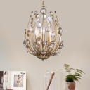 Champagne Gold Chandelier with Clear Crystal Vintage Style 3 Lights Hanging Lamp for Foyer