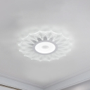 Clear Flower Flush Ceiling Light Modern Acrylic 16