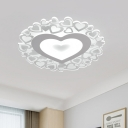White Light Heart Flush Lighting with Clear Acrylic Shade Modern Ultra Thin Ceiling Flush Mount Light, 18