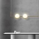 Opal Glass Globe Pendant Lighting Mid Century Modern 2 Light Island Light for Dining Table