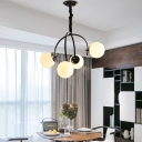 Modern Global Hanging Ceiling Light Frosted Glass 4 Lights Living Room Lighting in Black/White