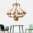 Rustic Style Lead Chandelier Light with Candle 6 Bulbs Metal Hanging Ceiling Light in Gold