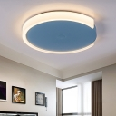 Blue Round Flush Mount Ceiling Light with Acrylic Diffuser Metal Nordic Bedroom Lighting in Warm/White/Neutral