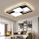 Black/White Rectangle Flush Ceiling Light Contemporary Acrylic LED Flushmount Light for Cafe