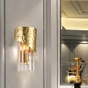 Modern Gold Wall Sconce Cylinder Metal and Crystal Sconce Light for Living Room Bedroom