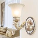 European Style Flower Wall Light 1/2 Lights E27 Milk Glass Wall Sconce in White for Villa Dining Room