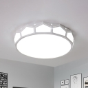 Faceted Round Flush Lighting with White Metal Shade 1 Head 18