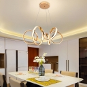 Cycle Led Hanging Light Modern Metal Single Pendant Lighting in Gold for Living Room