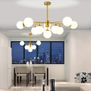 Sputnik Chandelier with Orb Opal Glass Shade 7/9/11 Lights Modern Vintage Hanging Ceiling Light in Black/Gold