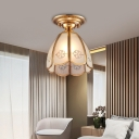Brass Conical Flush Mount Lighting 1 Light Vintage Flush Ceiling Lamp with White Glass Shade