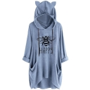 Bee HAPPY Letter Print Plain Longline Cat Graphic Hooded Sweatshirt with Pocket