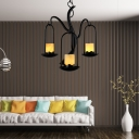 3/5/8 Lights Candle Pendant Lamp Rustic Amber Suspension Lamp in Black for Living Room