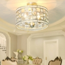 Traditional Round Flush Lighting Metal and Clear Crystal 3 Lights Flush Mount in Gold/Silver