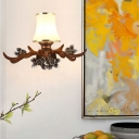 Resin Antler Wall Lighting with Bell Opal Glass Shade 1 Light Country Wall Mount Light
