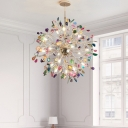 18 Lights Starburst Chandelier Lighting Art Deco Metal Pendant Light with Agate
