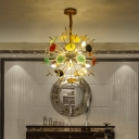 Agate Slice Burst Chandelier Modern 12 Lights Gold Indoor Hanging Lamp for Foyer