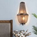 Empire Wall Lighting with Metal Chain Shade Art Deco 2 Lights Wall Mount Light in Coffee/Silver