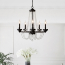 Traditional Ring Chandelier Light with Crystal Beaded Strands 5/6 Lights Metallic Pendant Lamp in Black