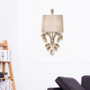 Fabric Drum Wall Sconce 2 Lights Contemporary Tan Crystal Branch Wall Lamp in Brass Finish