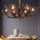 6 Heads Antlers Chandelier Lighting Fixture Resin Loft Pendant Chandelier in Brown