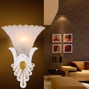 Petal Flush Wall Sconce with White/Yellow Glass Shade French Country 1 Head Wall Light with Peacock Tail Design