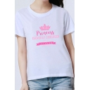 Girls Chic Crown Letter PRINCESS Print Short Sleeve Slim Fit White Tee Top
