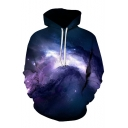 The Starry Starry Night 3D Printed Long Sleeve Casual Drawstring Hoodie